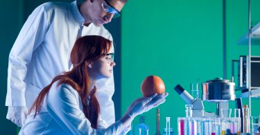 Лаборанты смотрят на апельсин
