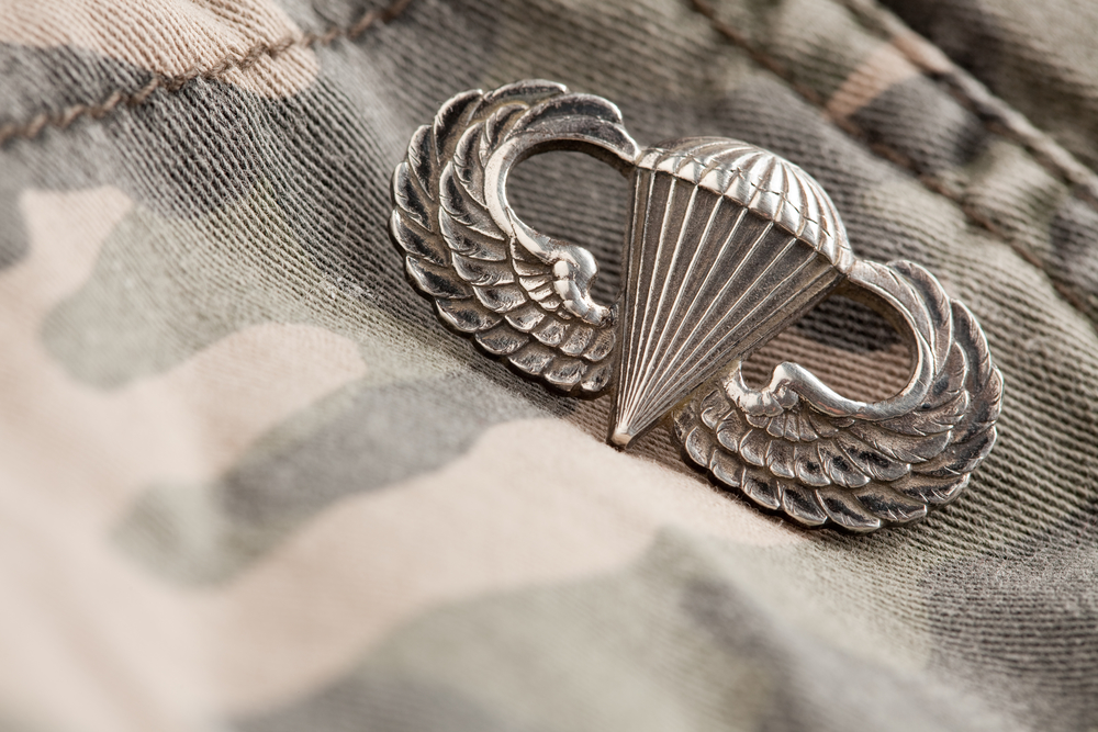 Paratrooper War Medal on a Camouflage Material.