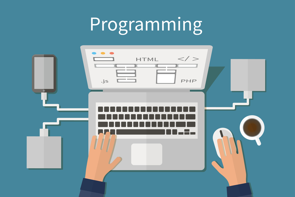 Programming and coding, website deveopment, web design. Flat vector illustration