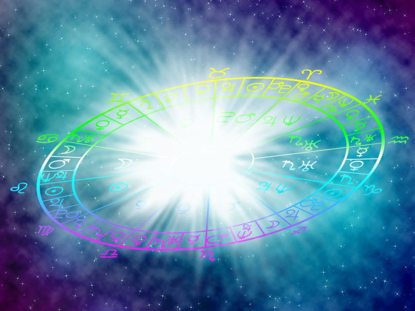 Blue background of the horoscope concept.