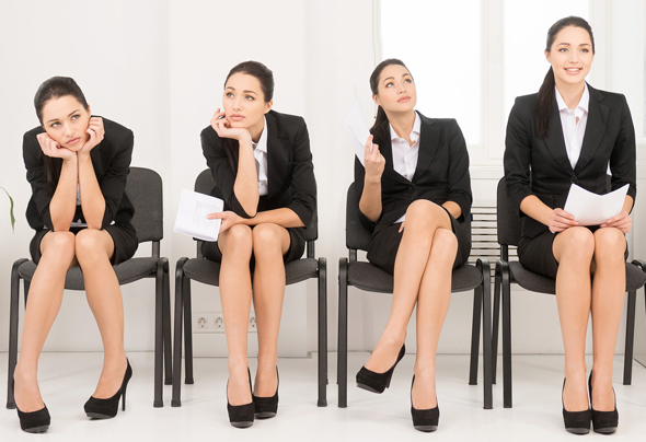 Four different poses of one woman waiting for interview. Sitting