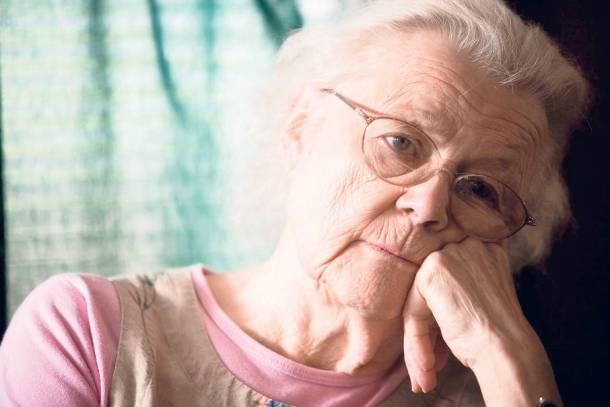 Close-up of senior woman in contemplation